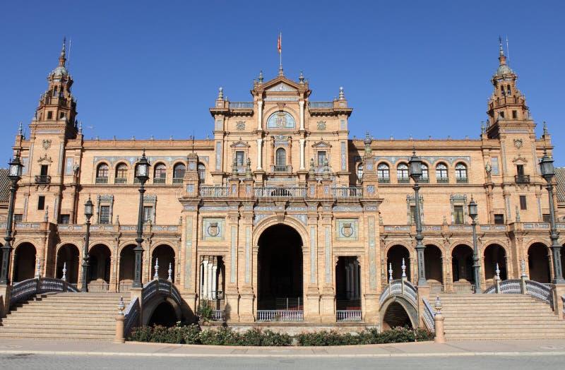 Plaza DE vierkant Espana (van Spanje) in Sevilla stock afbeelding