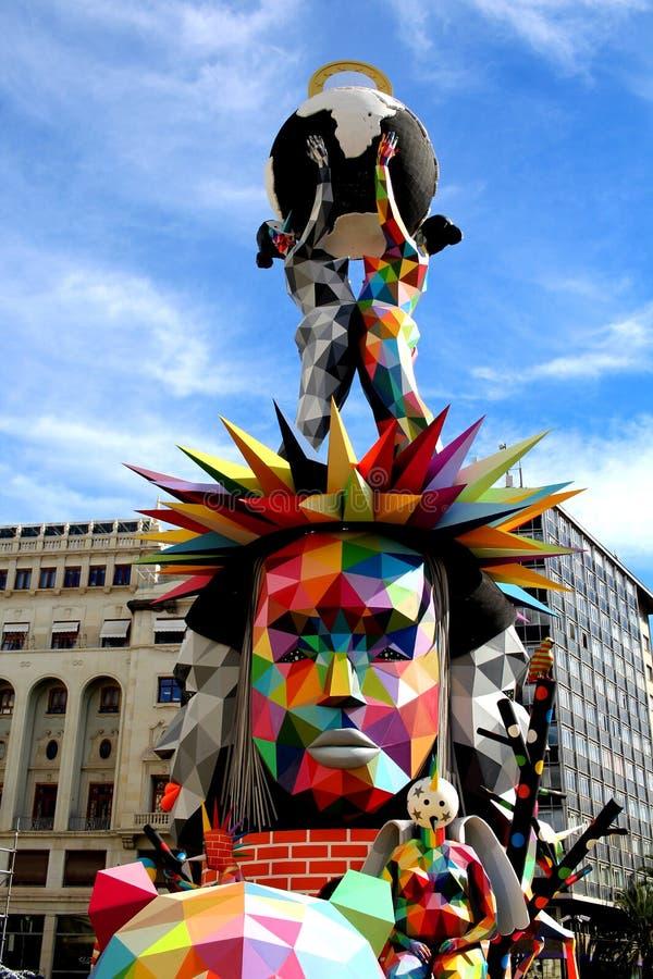 Plaza del Ayuntamiento 2018 da estátua de Fallas imagem de stock