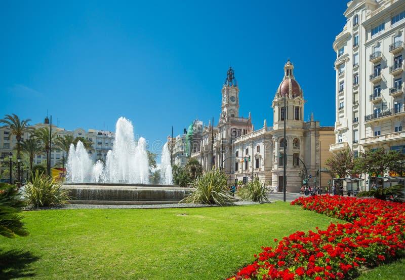 Plaza del Ayuntamiento, Valencia, Spain stock photography