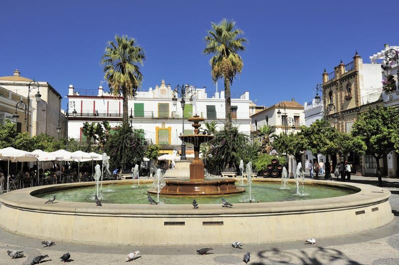 Plaza del Cabildo in Sanlucar DE Barrameda, Spanje stock foto