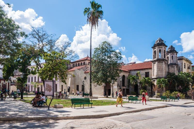 Plaza del Cristo fyrkant i havannacigarren, Kuba arkivbilder