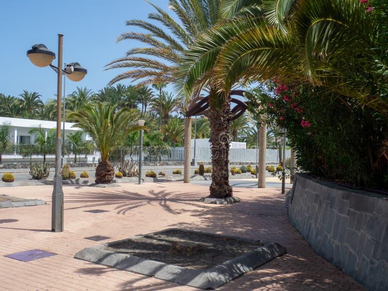 Plaza del Faro square, Maspalomas, Gran Canaria. Gran Canaria/Spain - August 8 2019: Maspalomas is a tourist town in the south of the island of Gran Canaria stock photos