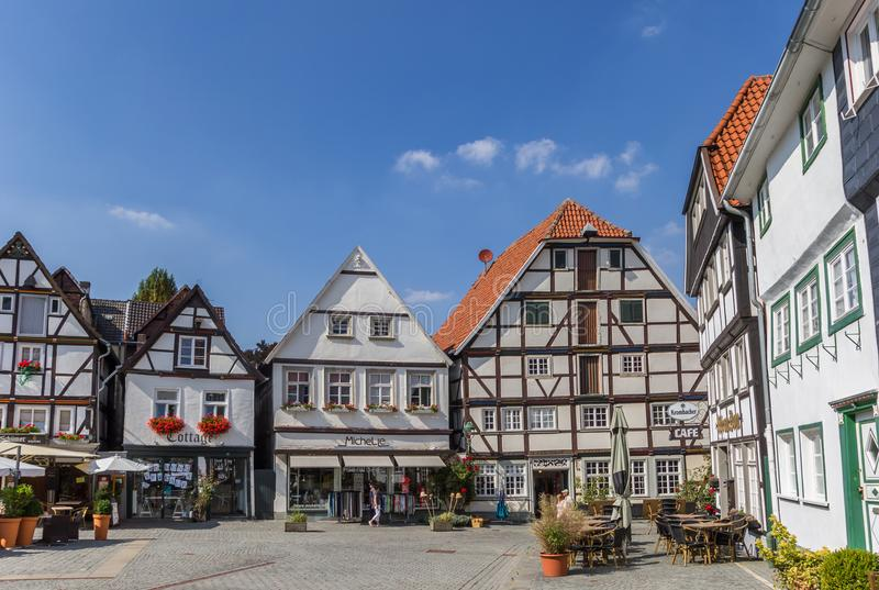 Plaza del mercado central Vreithof en Soest fotos de archivo libres de regalías