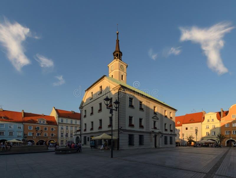 Plaza del mercado en Gliwice en el tiempo de la tarde fotografía de archivo libre de regalías