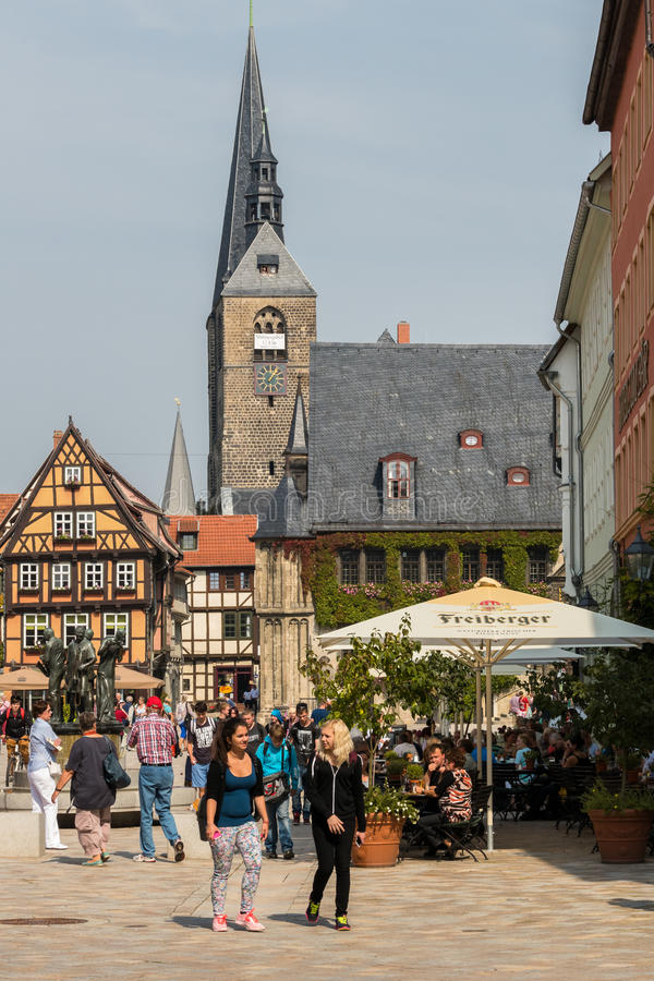 Plaza del mercado en Quedlinburg, Alemania fotos de archivo