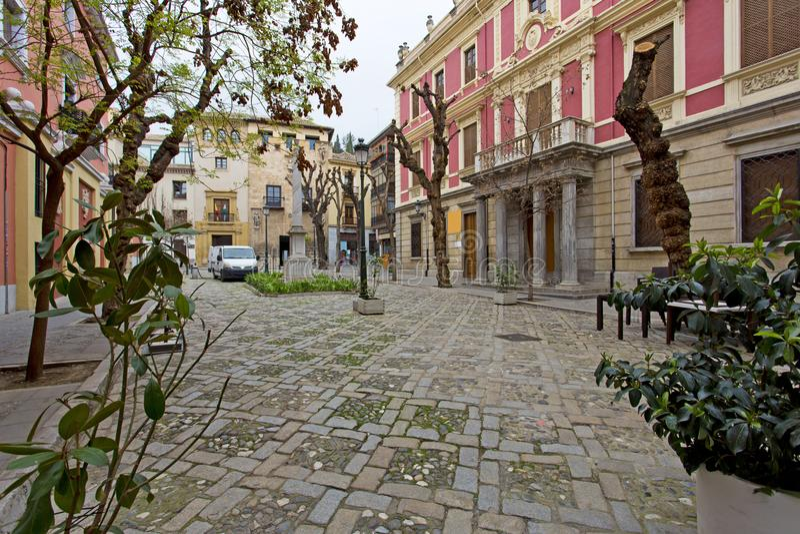 Plaza del Padre Suarez in Granada. Andalusia, Spain stock photos