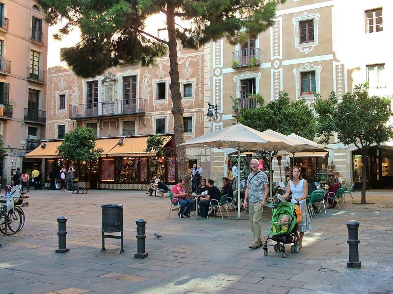 Plaza Del Pi in Barcelona, Spanien stockbilder
