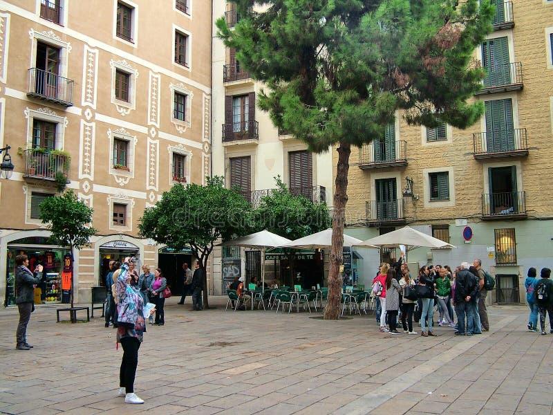 Plaza del Pi em Barcelona, Espanha imagem de stock royalty free