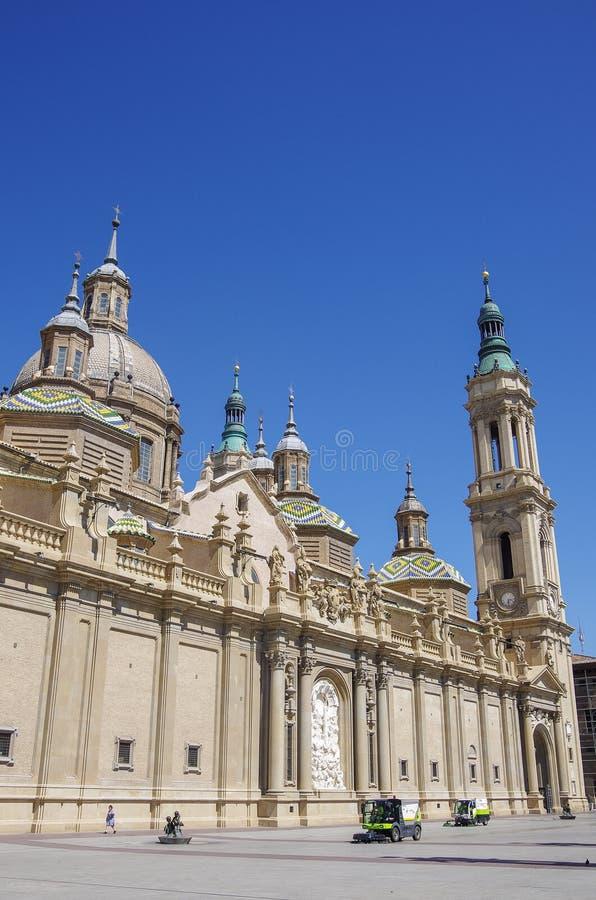 Plaza del Pilar square in Zaragoza, in front of Basilica de Nuestra Senora del Pilar stock images