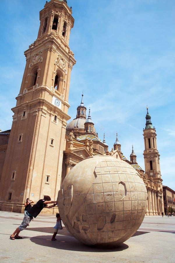 Plaza del Pilar square in Zaragoza, Spain stock image