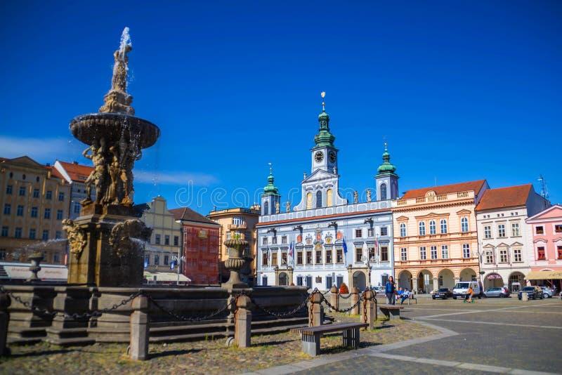 Plaza del quintal de Ceske Budejovice, República Checa fotos de archivo libres de regalías