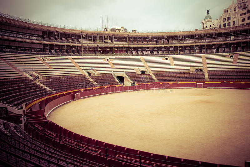 Plaza del Toros 1. Valencia, Spain - October 24, 2015: Interior of the Plaza del Toros, a bullfighting arena, that holds 10,500 people, on October 24,2015, in royalty free stock images