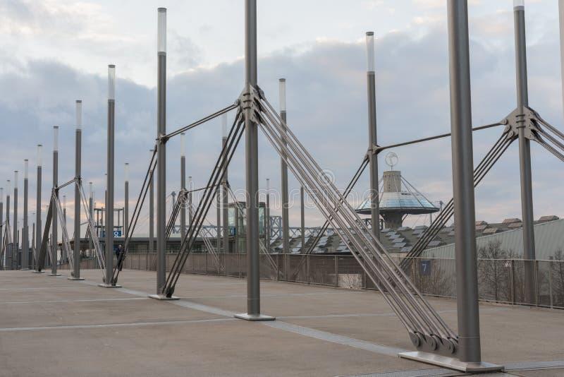 Plaza dell'Expo sulla zona fieristica di Hannover fotografie stock