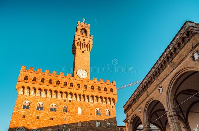 Plaza Della Signoria en Florencia Edificios medievales foto de archivo libre de regalías
