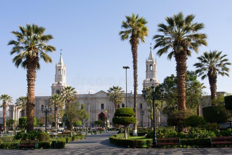 plaza des armas de Pérou de l'Amérique arequipa du sud photographie stock