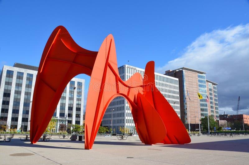 Plaza do centro de Grand Rapids fotos de stock