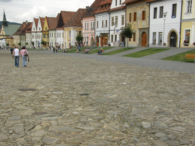 Plaza en Bardejov imagenes de archivo