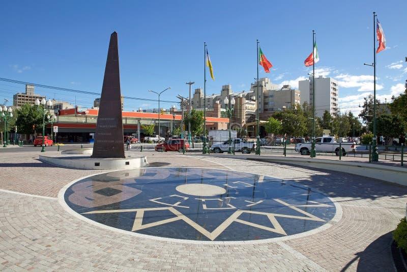 Plaza en Trelew, una ciudad en la provincia de Chubut de la Patagonia en la Argentina fotos de archivo