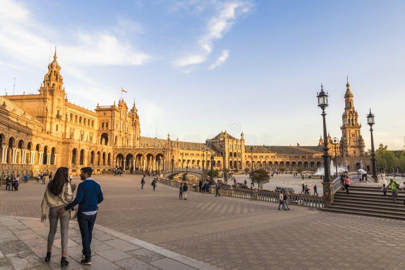 Plaza Espana, Sevilla, Spanien arkivbild
