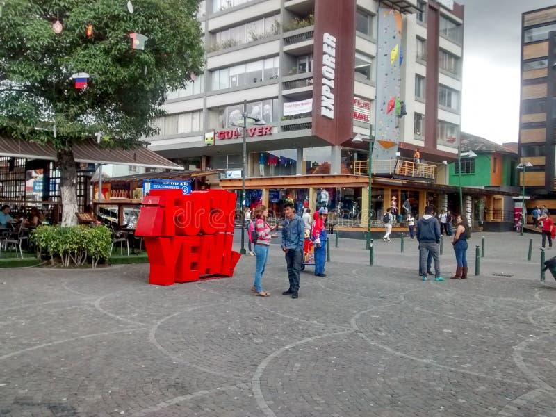Plaza Foch en Quito, Ecuador fotografía de archivo