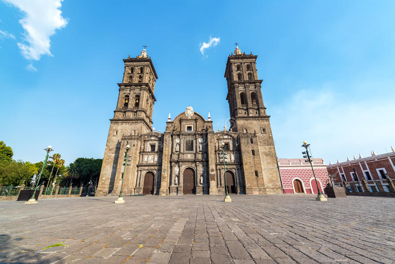 Beautiful Cathedral of Puebla, Mexico. Plaza and front view of the cathedral in the colonial center of Puebla, Mexico stock image