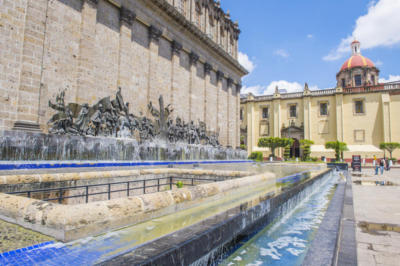 The Plaza Fundadores in Guadalajara stock images