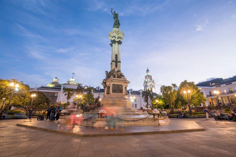 Plaza grande dans la vieille ville Quito, Equateur photographie stock