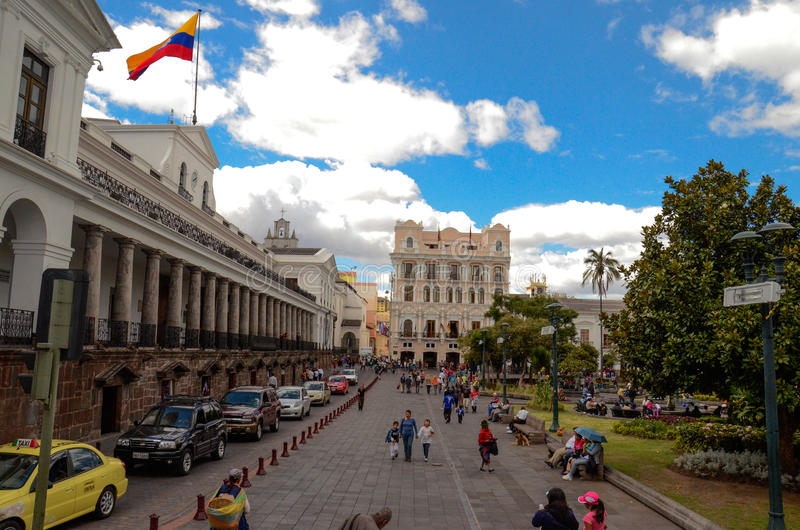 Plaza Grande - Quito, Ecuador. Independence Square (Spanish: Plaza de la Independencia, or Plaza Grande) is the principal and central public square of Quito royalty free stock photos