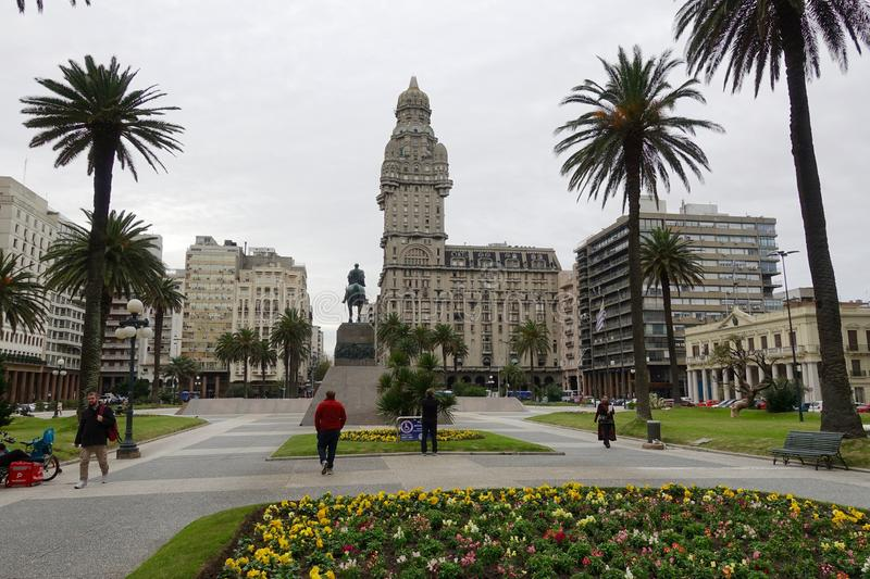Plaza Independencia in Montevideo, Uruguay. Montevideo/Uruguay-6/1/19: Plaza Independencia is the name of Montevideo`s most important plaza. It separates Ciudad royalty free stock photo