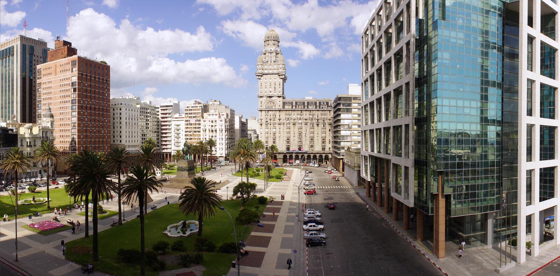 Plaza Independencia på Montevideo royaltyfri foto