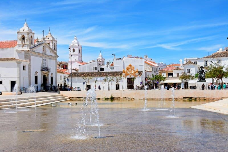 Plaza, Lagos, Portugal foto de archivo