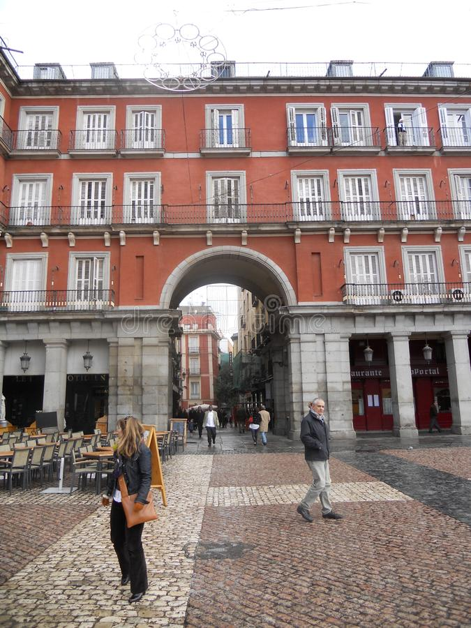 Plaza in Madrid downtown near Puerta del Sol Madrid Spain travel with friends and family.  royalty free stock images
