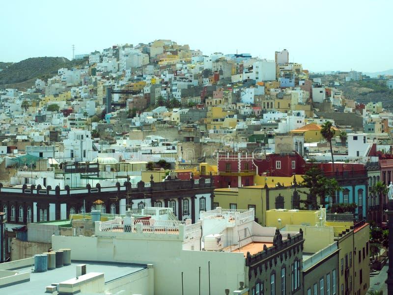 Plaza magnífica Santa Ana Town Ha de Canarias de Vegueta de la opinión del tejado foto de archivo