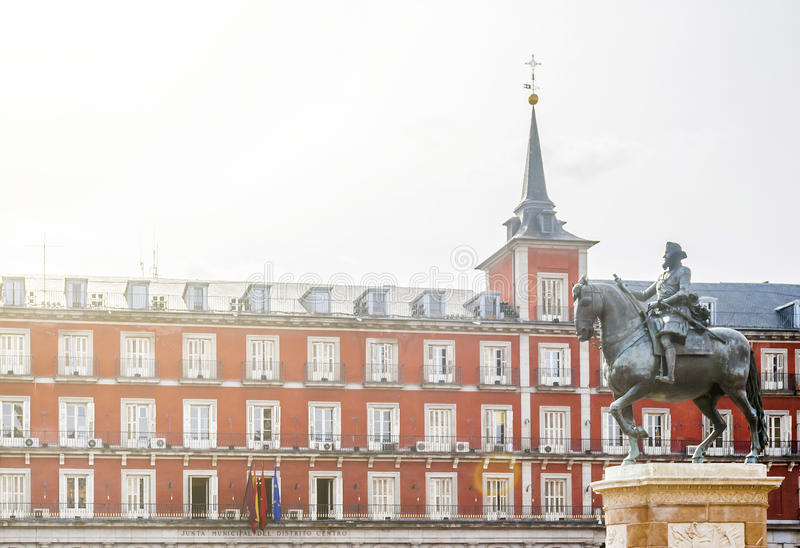 Plaza Mayor and King Philip lll equestrian statue royalty free stock image