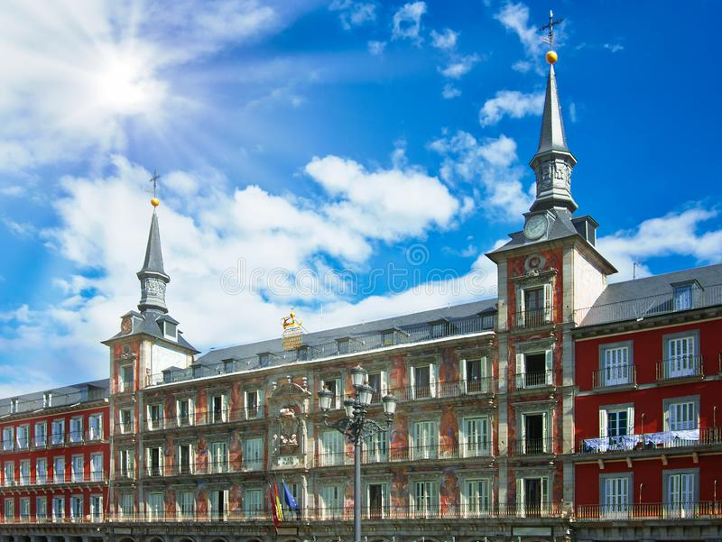 Plaza Mayor Major Square the most important one in Madrid Spain stock images