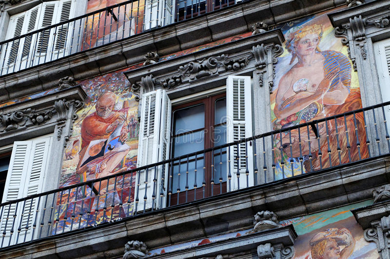 Download Plaza Mayor painted facade stock photo. Image of feature - 17792848