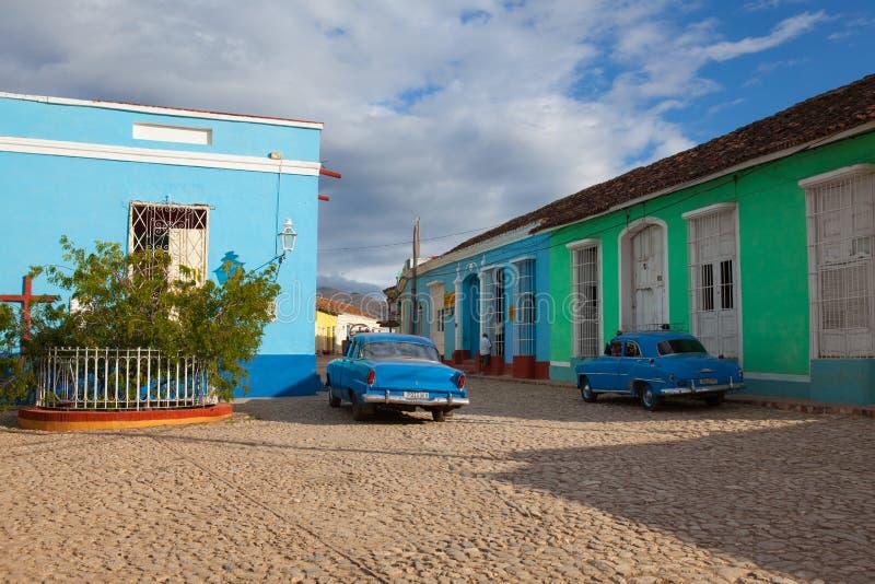 Plaza Mayor -Principal square of Trinidad, Cuba. Trinidad, Cuba - January 30,2017: Plaza Mayor -Principal square of Trinidad. Typical colonial building with stock image
