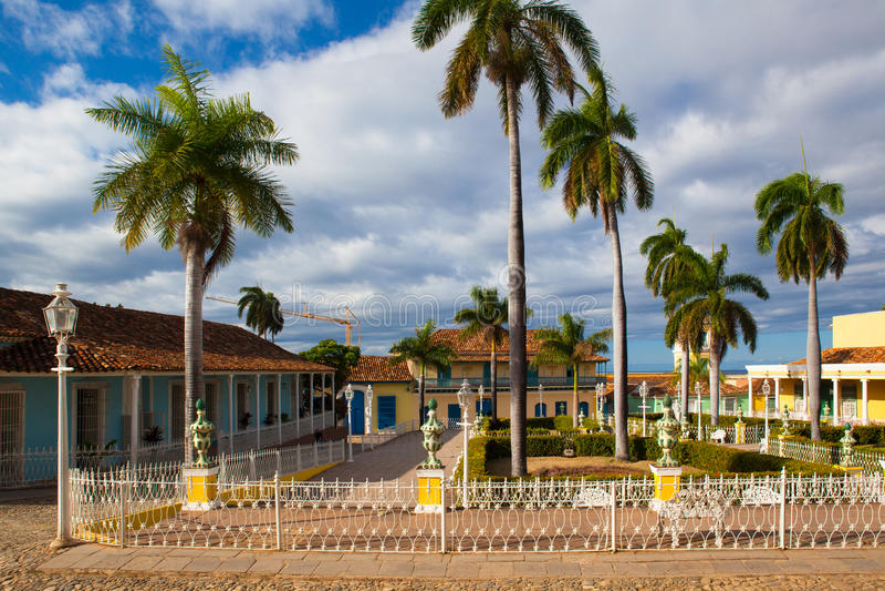 Plaza Mayor -Principal square of Trinidad,Cuba. Plaza Mayor -Principal square of Trinidad. One of UNESCOs World Heritage sites since 1988. Sancti Spiritus royalty free stock images