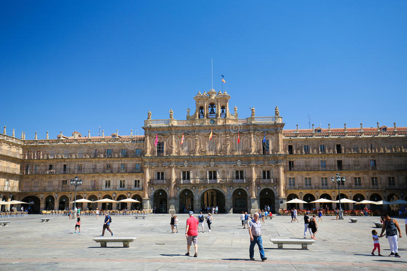 The Plaza Mayor in Salamanca, Spain royalty free stock images