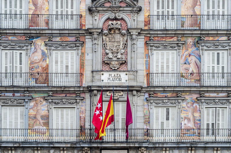The Plaza Mayor square in Madrid, Spain. The Plaza Mayor was built during the Habsburg period and is the central plaza in the city, surrounded by three-story stock image