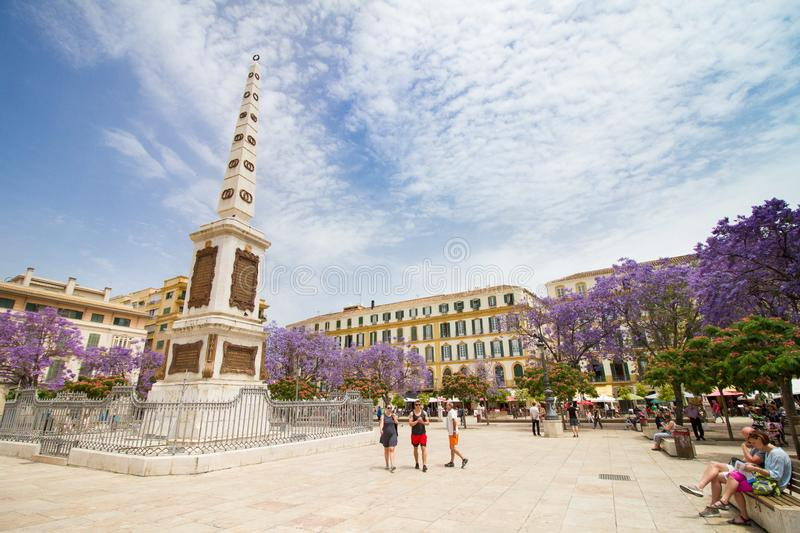 Plaza merced malaga square monument stock image