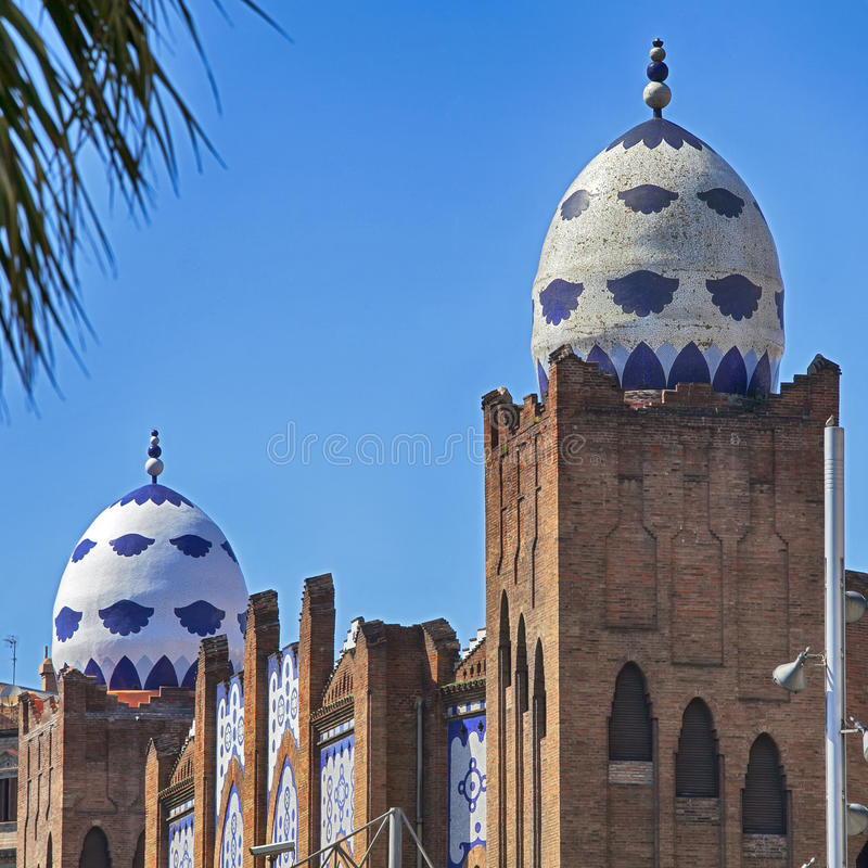 The Plaza Monumental de Barcelona or known as La Monumental. It is a bullring and bullfighting arena in the city of Barcelona, Cat. BARCELONA, SPAIN - JULY 31 royalty free stock image