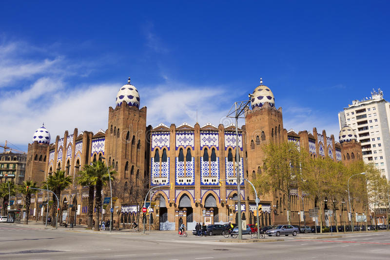 The Plaza Monumental de Barcelona. Barcelona, Spain - 26 March, 2017: The Plaza Monumental de Barcelona, often known simply as La Monumental, was a bullring in royalty free stock photography