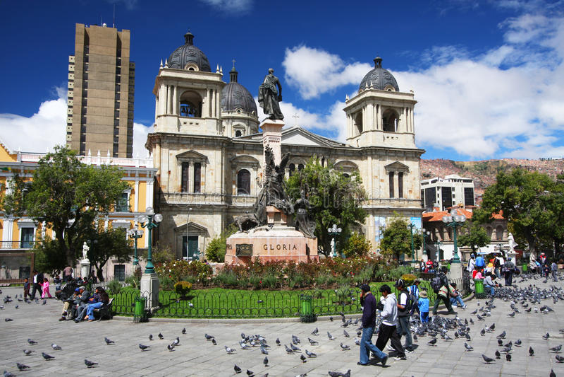 Plaza Murillo in La Paz, Bolivia. Plaza Murillo and the Presidential Palace and Cathedral in La Paz, Bolivia stock image