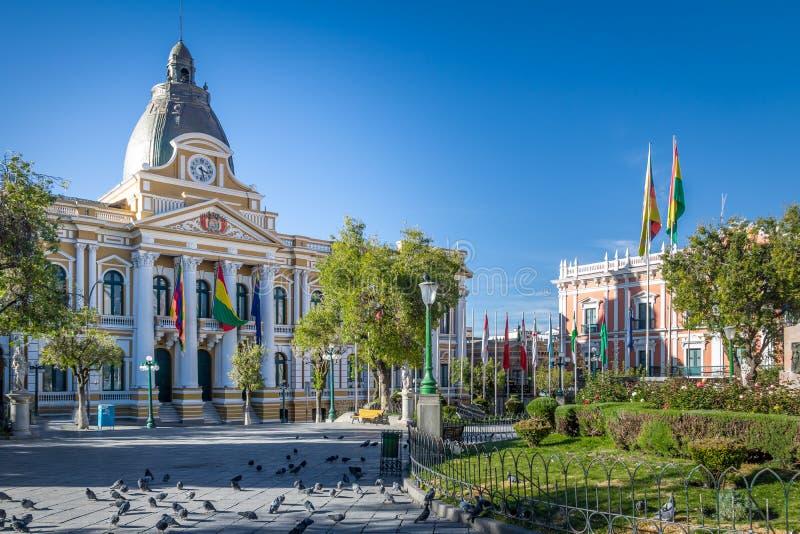 Plaza Murillo y palacio boliviano del gobierno - La Paz, Bolivia fotos de archivo