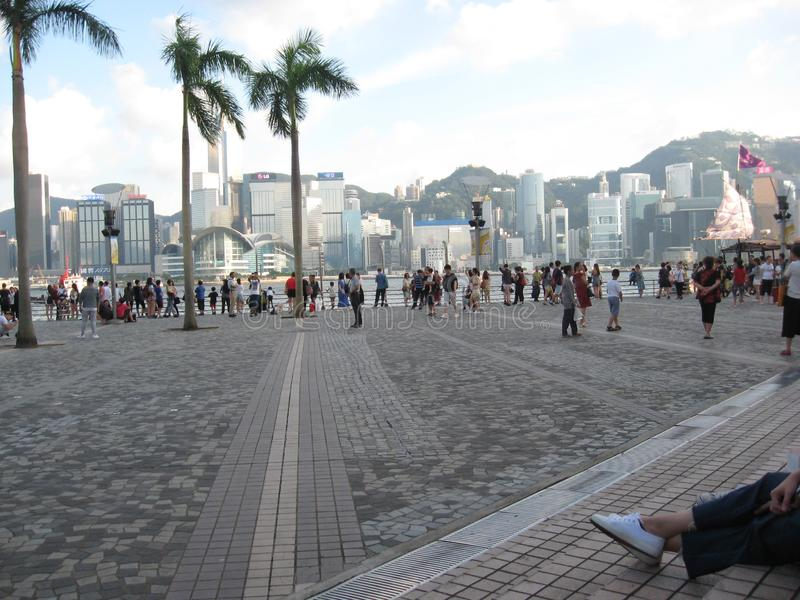 The plaza near the Hong Kong cultural centre, Tsim Sha Tsui stock image