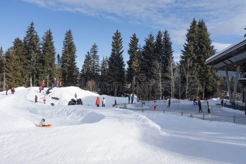 Plaza olímpica de la marmota con las diapositivas de los niños y la pista de patinaje imagen de archivo