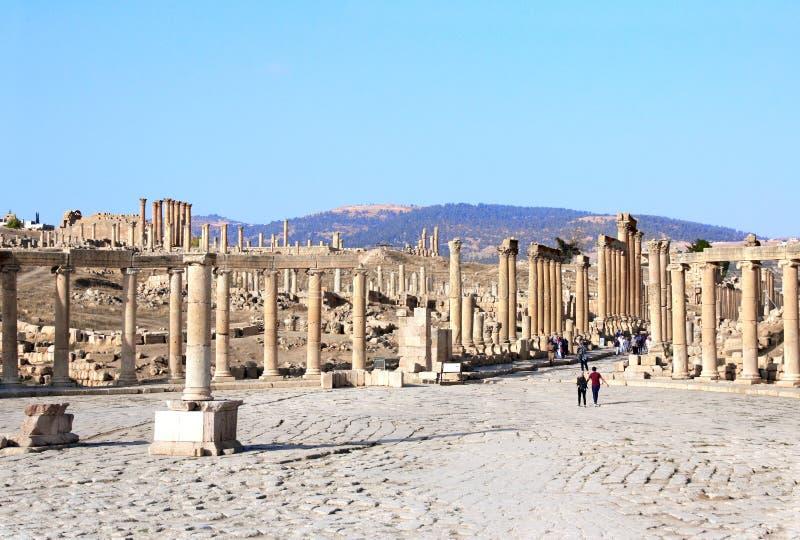 Plaza ovale in Jerash, Giordano immagini stock libere da diritti