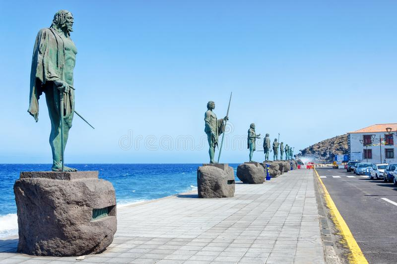 Plaza of the patron of Canaries Guanches with statues. The last kings of Tenerife in bronze statuary and oversized. Candelaria, Te stock photos