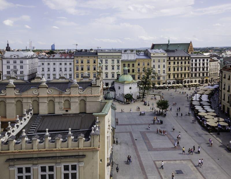 Plaza principal - centro histórico de Kraków fotografía de archivo